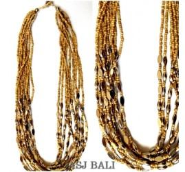 beige beads necklaces steel charm multiple strand