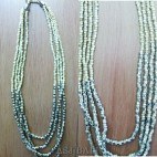 beige color beads necklaces 4strand with steels