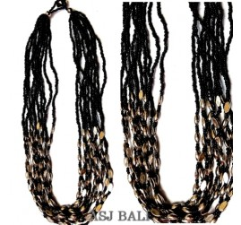 black beads chain necklaces grass ornament steel
