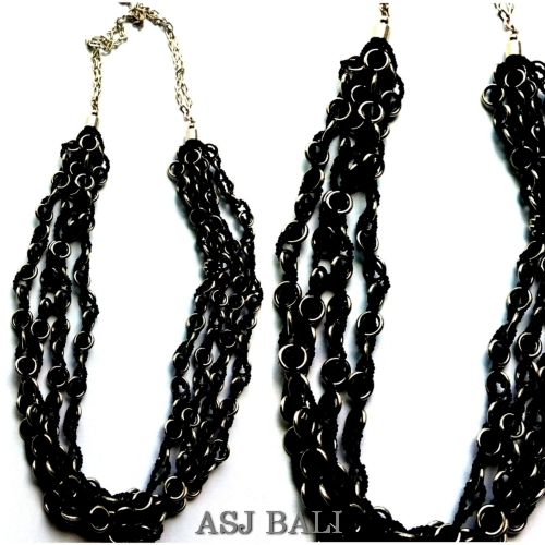 black beads necklaces chain long strand four strand