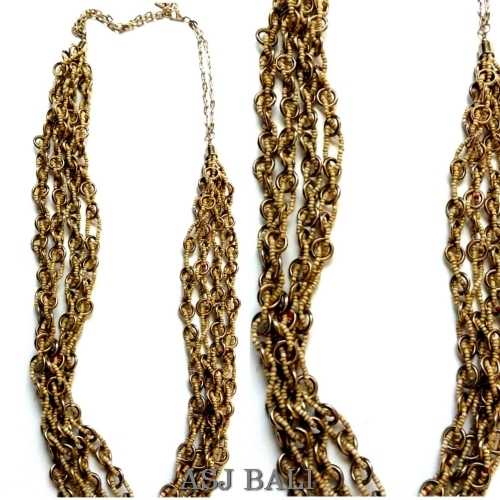 chain necklaces beige color beads fashion accessories