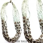 chain straw necklaces multiple beads necklaces bali
