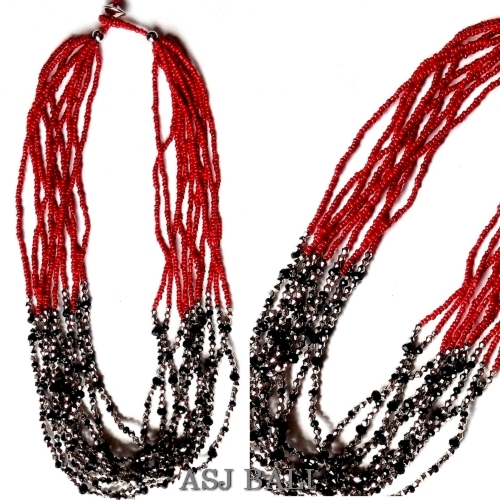 crystal beads necklaces multiple seeds red color fashion