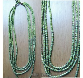 four strand beads necklaces green color handmade bali