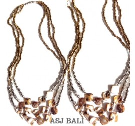 golden beads necklaces with shells bead nuged triple strand