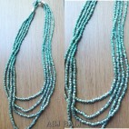 mono color turquoise beads 4strand with steels necklaces design