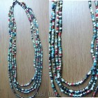 multiple color beads necklaces with steels