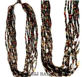 multiple color strand beads necklaces with chain grass