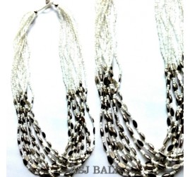 multiple bead strand necklace white color with steels