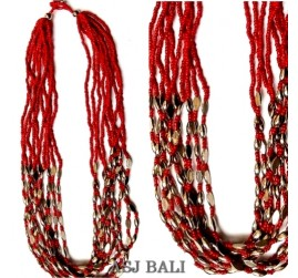 multiple seeds necklaces charms steel beads bali design
