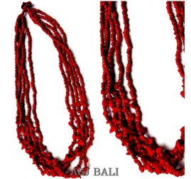 red stone beads necklaces multiple strand bali design