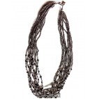 silver beads necklaces multiple strand with crystal beads