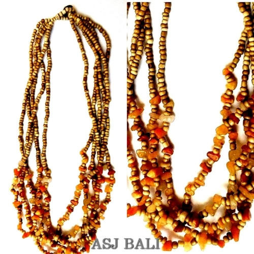 stone beads necklaces natural style multiple strand