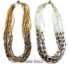 straw chain steel necklaces beads multiple seeds two color design