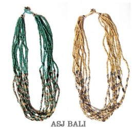 two color beads necklaces chain grass steel