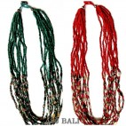 two color beads red and turquoise necklaces fashion with chain grass