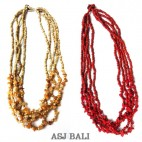 two color beads stone necklaces multi strand handmade