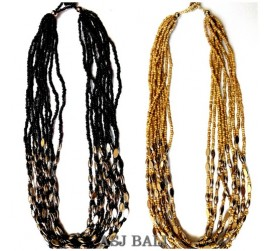 two color necklaces black beige with chain grass steel