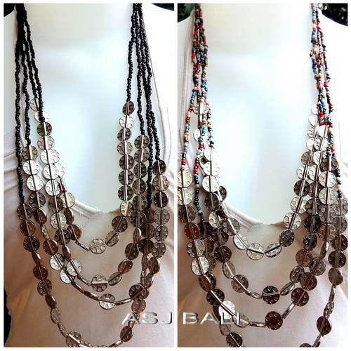beads necklaces four strand with silver accessories charm