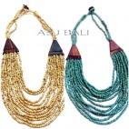 beige turquoise necklaces ethnic balinese design bead wood caps