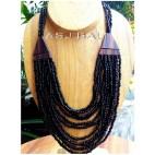 black beads necklaces multi seeds handmade wood bali