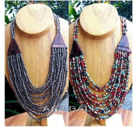 ethnic design necklaces beads wood natural handmade bali