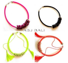 four color chokers necklaces string tassels beads fashion
