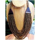 golden beads multiple strand with wooden natural ethnic