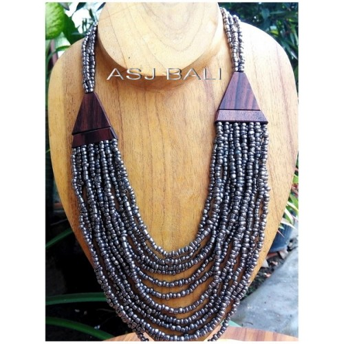 grey beads necklaces wooden caps multiple strand design