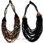 handmade beads wood necklaces bali design multiple strand