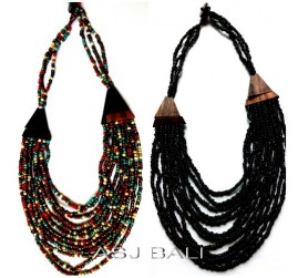 handmade beads wood necklaces bali design multiple strand