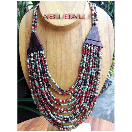 mix color beads necklaces ethnic with wooden caps