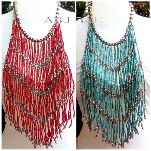 multiple seeds beads necklaces long strand casandra