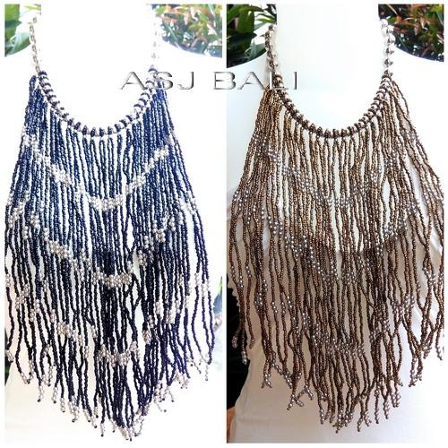 multiple seeds long necklaces mono color motif casandra