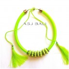 strings chokers necklaces tassels with beads green color