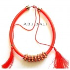strings chokers necklaces tassels beads orange color