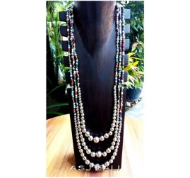 triple strands beads mix color necklaces balls accessories