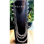 triple strands beads necklaces balls accessories silver color