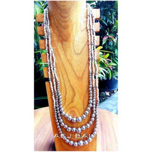 triple strands beads necklaces silver balls accessories white