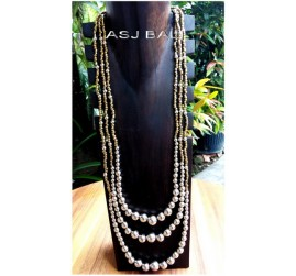 triple strands long beads necklaces silver balls accessories