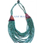 turquoise color beads necklaces multiple strand with wood natural