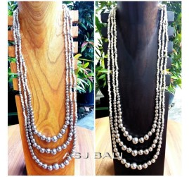 two color long seeds necklaces balls beads beige white