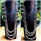 two color long necklaces beads balls silver fashion accessories