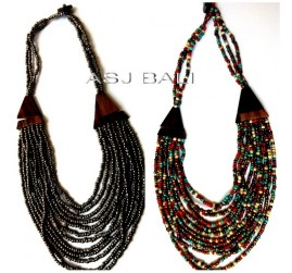 two color necklaces beads organic wood ethnic design