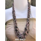 bali bead necklaces long wired color mix black pink