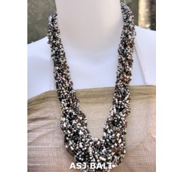 bali bead necklaces long wired color mix white black gold