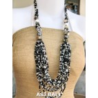 bali beads black white necklaces with shells multi strand
