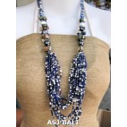bali beads necklaces with shells blue white multi strand