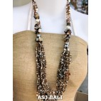 bali beads necklaces with shells gold multi strand