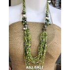 bali beads necklaces with shells green multi strand